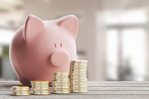 Ein rosa Sparschwein. Vor ihm mehrere Stapel Geldmünzen.