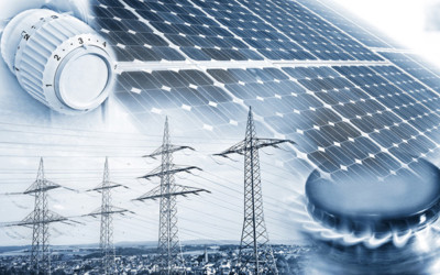 Stromstecker, Solaranlagen, Gasherd, Strommast und Windmühlen