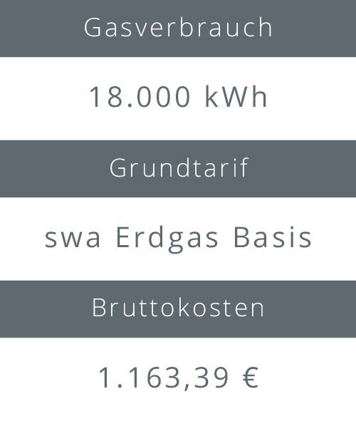 Gasverbrauch, Grundtarif und Bruttokosten eines swa Erdgastarifs
