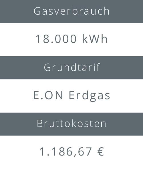 Gasverbrauch, Grundtarif und Bruttokosten des E.ON Erdgas Tarifs