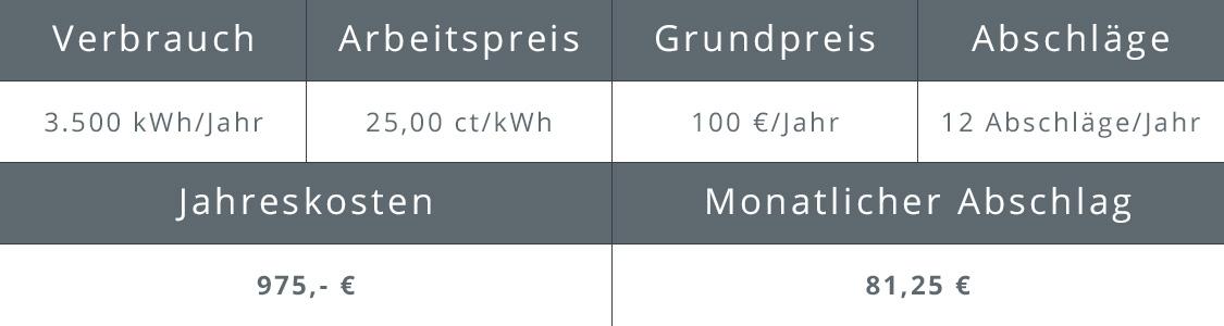 Beispiel für Abschlagszahlungen Strom