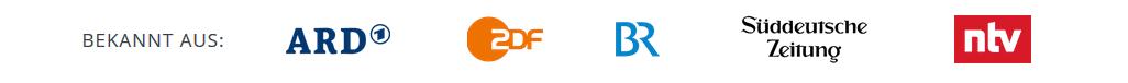 Die Logos der Testimonials ARD, ZDF, BR, Süddeutsche Zeitung und ntv