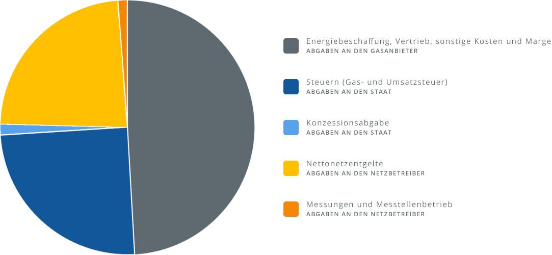 Kreisdiagramm über die Zusammensetzung des Gaspreises