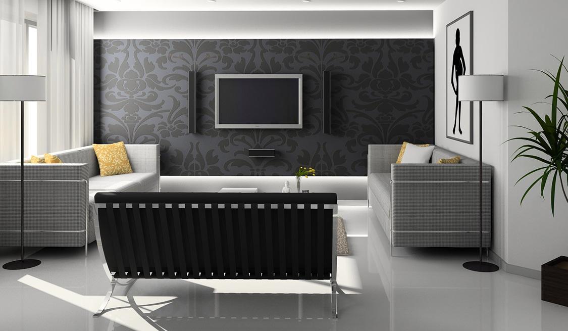 Schwarz-Grau-Weiß eingerichtetes Wohnzimmer