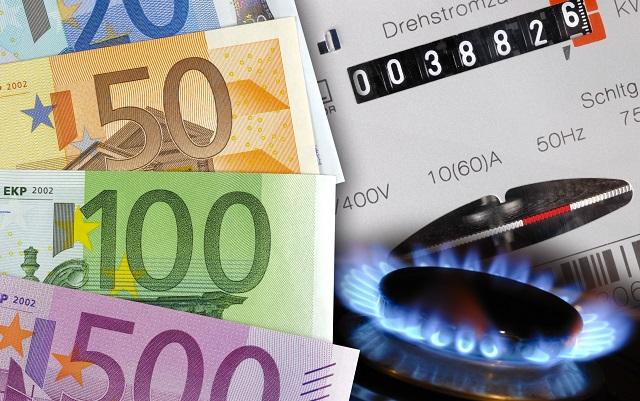 Gaszähler und Bargeld