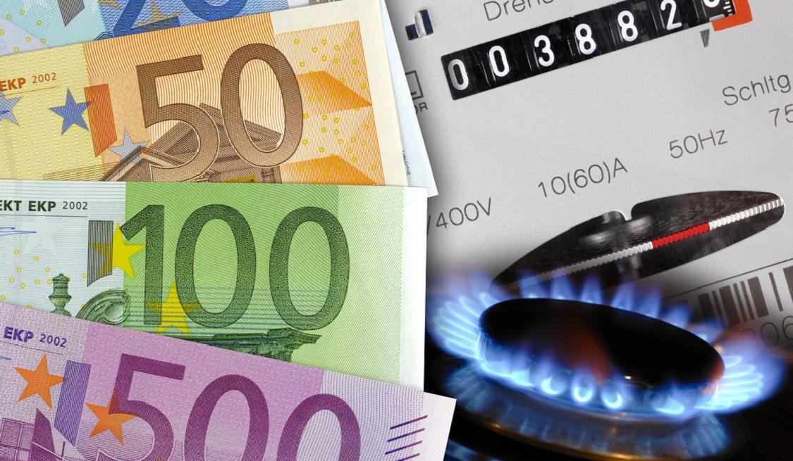 Gaszähler mit Bargeldscheinen