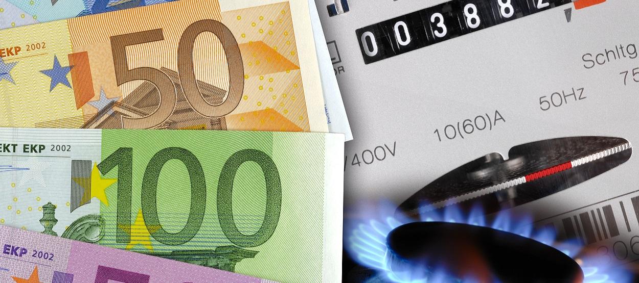 Bargeldscheine und Gaszähler