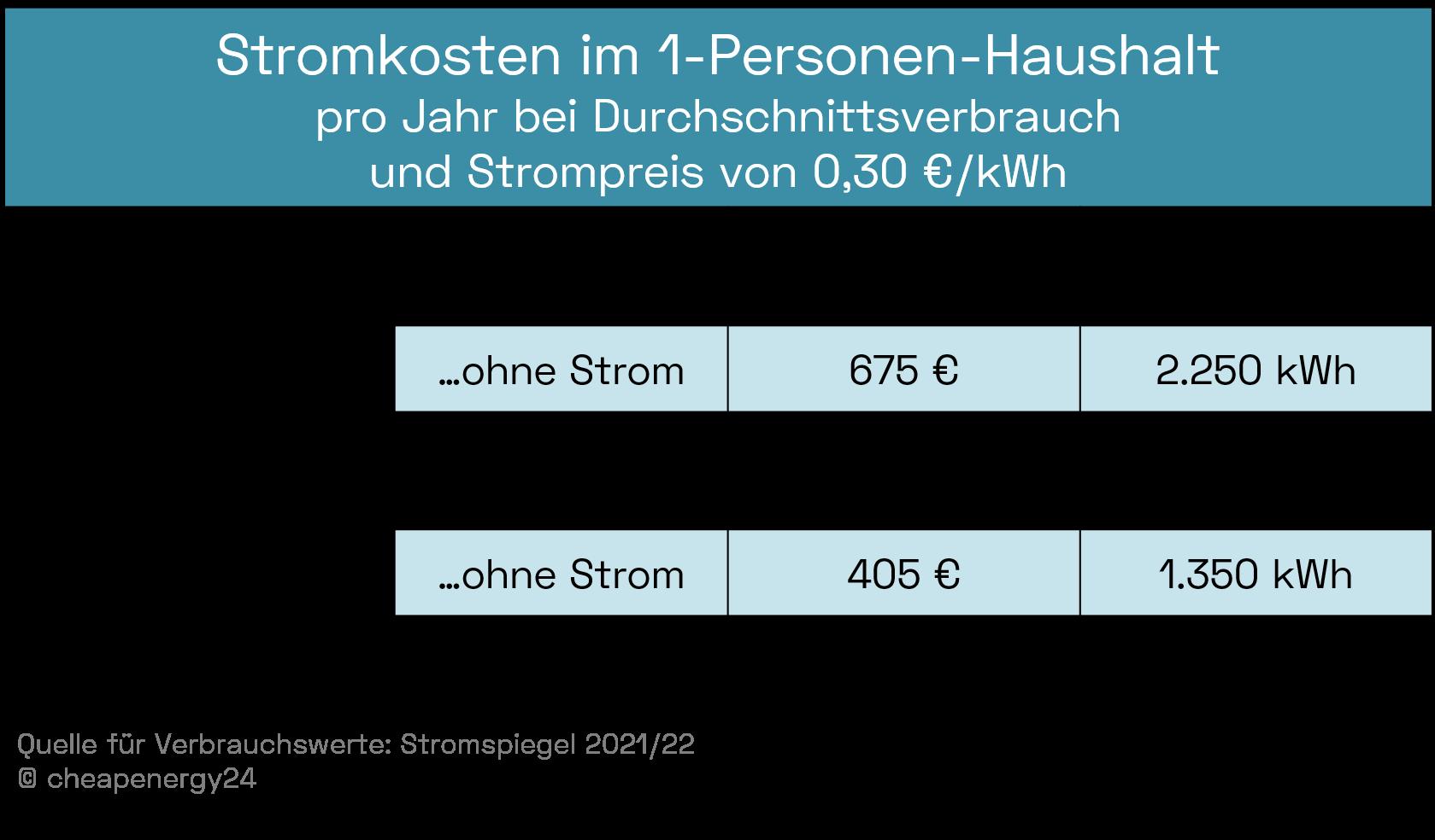 Stromkosten 1 Person bei durchschnittlichem Verbrauch