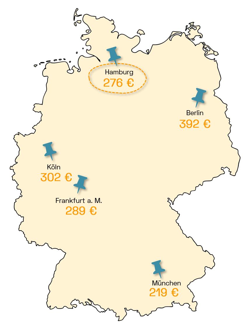 Stromanbieter Hamburg Ersparnis Deutschlandkarte